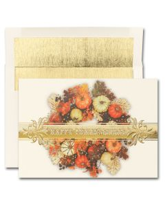 Thanksgiving Colorful Wreath Cards from the Fine Impressions Blank Thanksgiving Cards Collection.