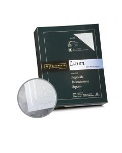Southworth Business Linen 25% Cotton White Paper - 8 1/2 x 11 in 24 lb Bond Linen  30% Recycled  25% Cotton Watermarked 500 per Ream