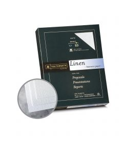 Southworth Business Linen 25% Cotton White Paper - 8 1/2 x 11 in 32 lb Bond Linen  30% Recycled  25% Cotton Watermarked 250 per Package