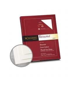 Southworth Resume 100% Cotton White Paper - 8 1/2 x 11 in 32 lb Bond Wove  100% Cotton Watermarked 100 per Package